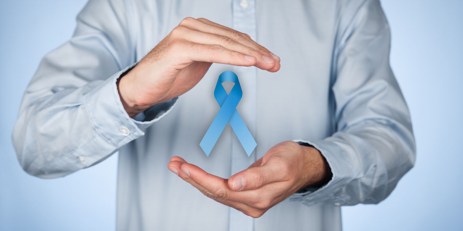 man holding prostate cancer awareness ribbon